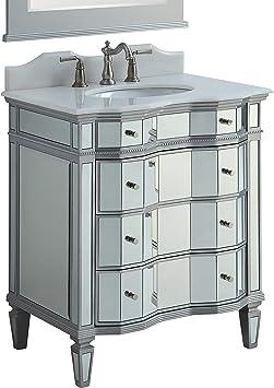 30 Benton Collection Mirrored W Silver Trim Bathroom Sink Vanity Cabinet Ashley Model Bwv 025 30 Amazon Com