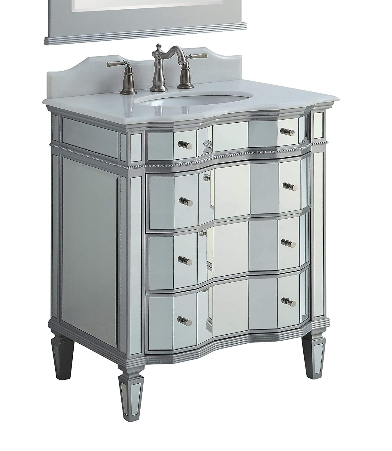 30 Mirrored w silver trim Bathroom Sink Vanity Cabinet – Ashley Model BWV-025 30