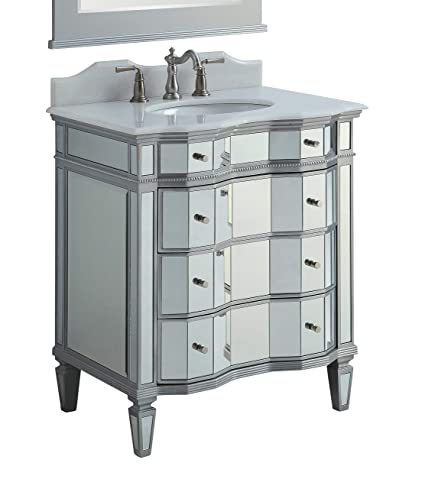 Superb 30u0026quot; Mirrored W/silver Trim Bathroom Sink Vanity Cabinet   Ashley Model  # BWV
