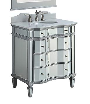 30 Mirrored Wsilver Trim Bathroom Sink Vanity Cabinet Ashley