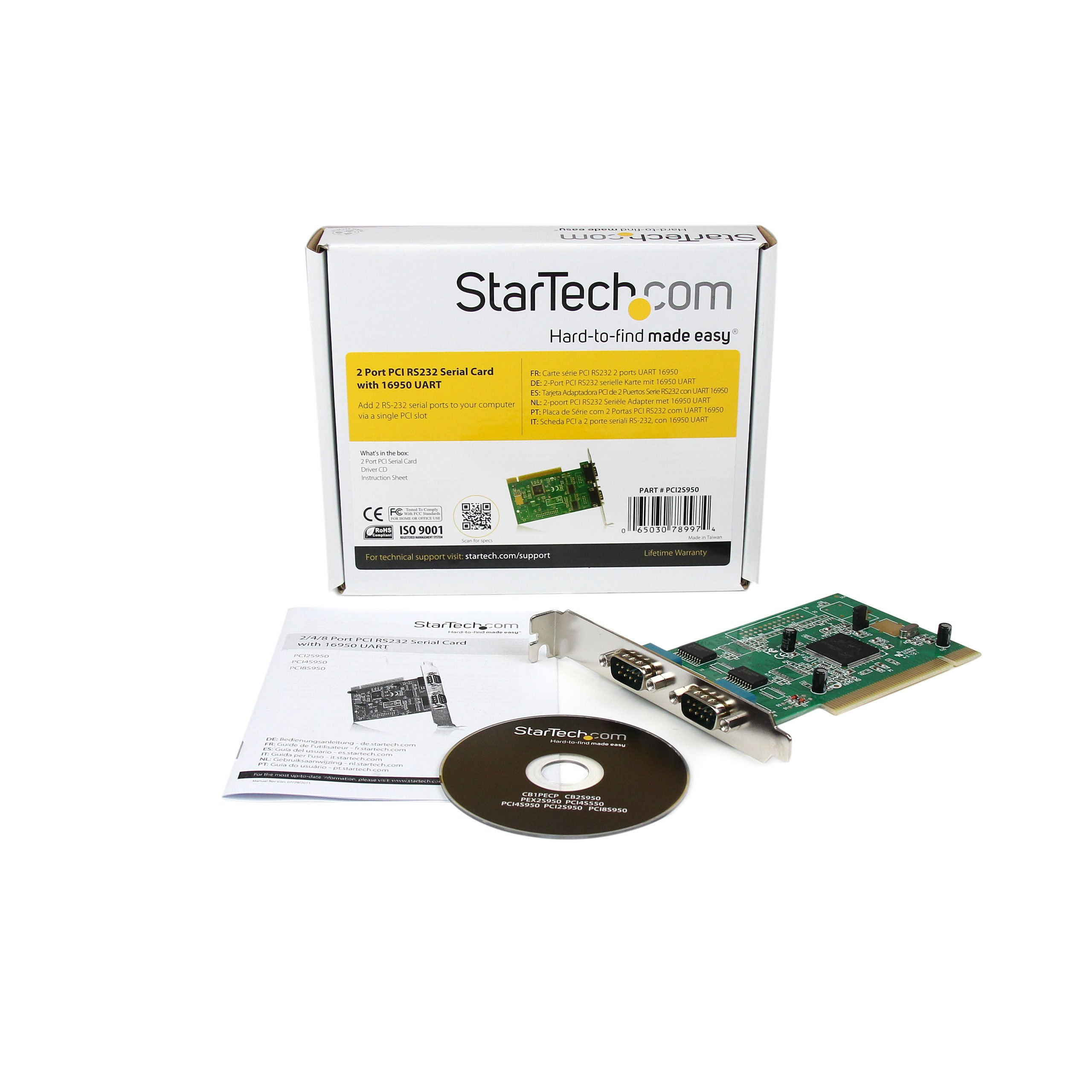 StarTech.com 2 Port PCI RS232 Serial Adapter Card with 16950 UART (PCI2S950)