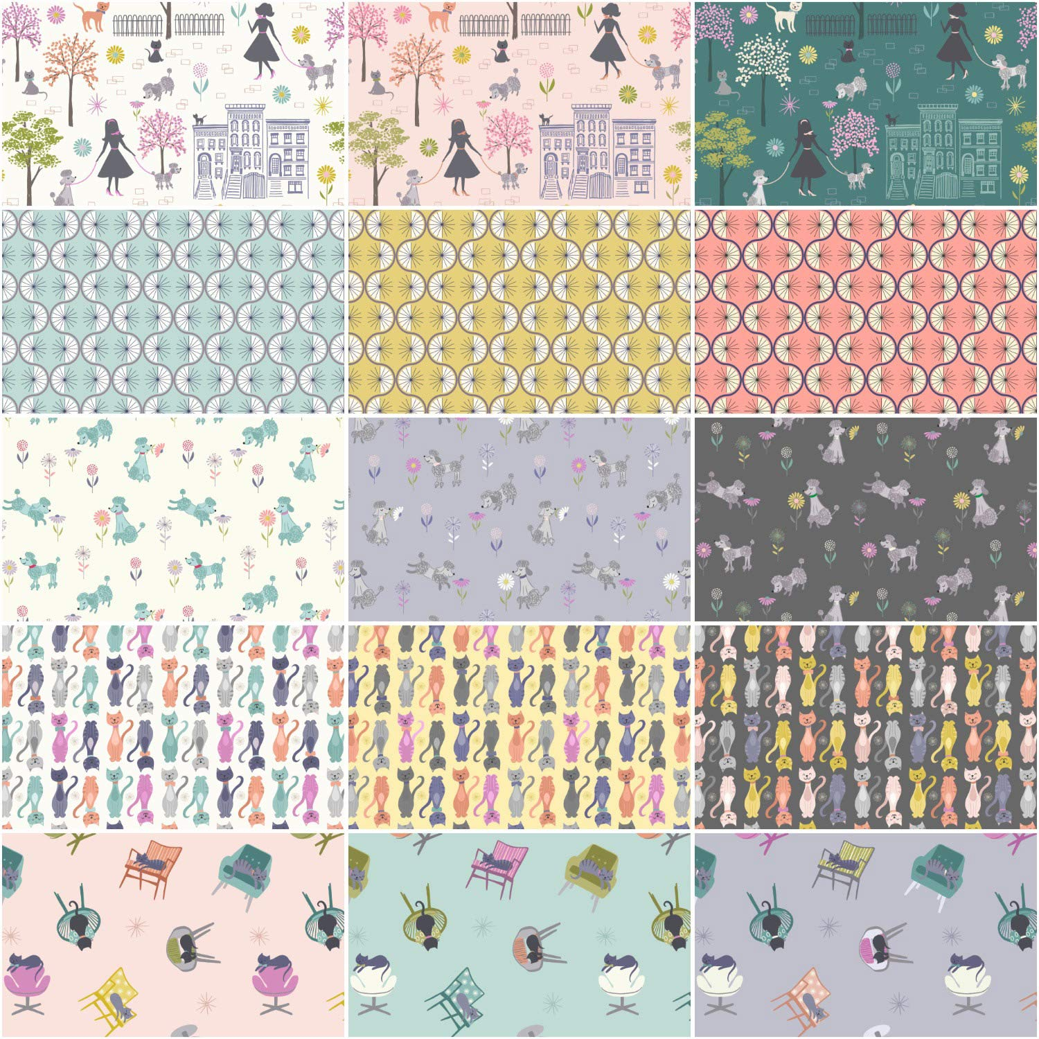 Poodle /& Doodle Charming Squares 42 5-inch Squares Charm Pack Lewis /& Irene