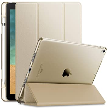 Infiland Case For I Pad Air 3rd Generation 2019 / I Pad Pro 10.5 2017, Translucent Frosted Back Smart Cover Case With Apple Pencil Holder,Gold by Infiland