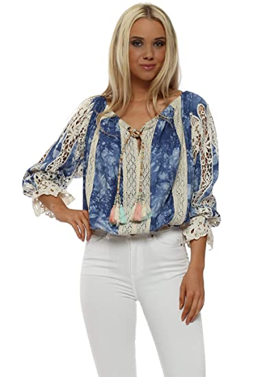 e56ebffd103791 Laurie   Joe Lace Top One Size Blue  Amazon.co.uk  Clothing