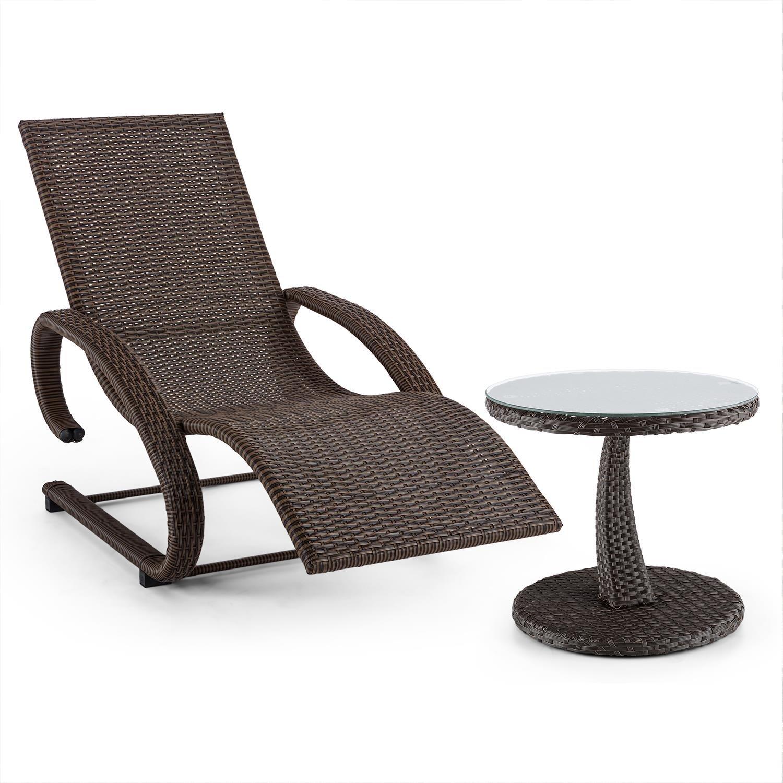 blumfeldt Daybreak Schwingliege Gartenliege + Beistell-Tisch Set (Freischwinger, mit Armauflagen, 100 kg max. Belastung, Glasplatte, 50 cm Durchmesser, Korbflechtoptik) grau