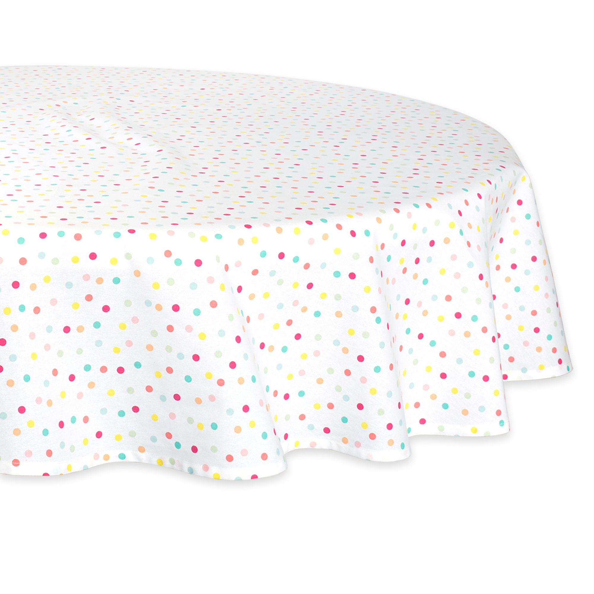 DII Round Cotton Tablecloth for Spring Wedding, Birthday Party, Baby Shower, Easter and Everyday Use - 70'' Round, Multi Polka Dots