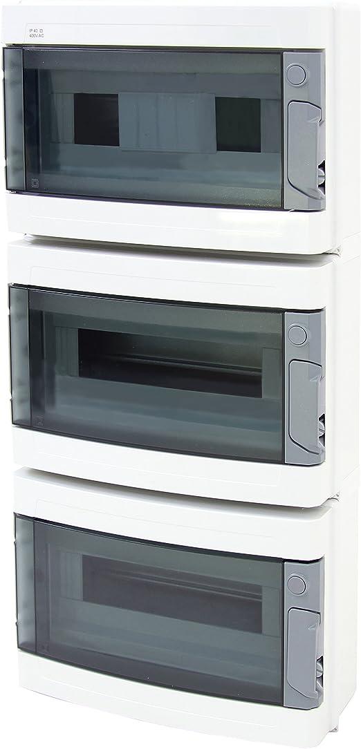 La caja de fusibles de distribución de distribución para subir y bajar IP40 39 módulos 3-filas, New: Amazon.es: Hogar