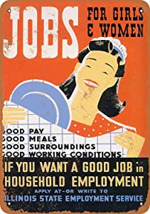 """Metal Tin Sign,12""""X16""""1936 Jobs for Girls and Women Retro Metal Tin Poster Suitable for Garage Office Club Bar Wall Art Cafe Home Painting Decoration"""