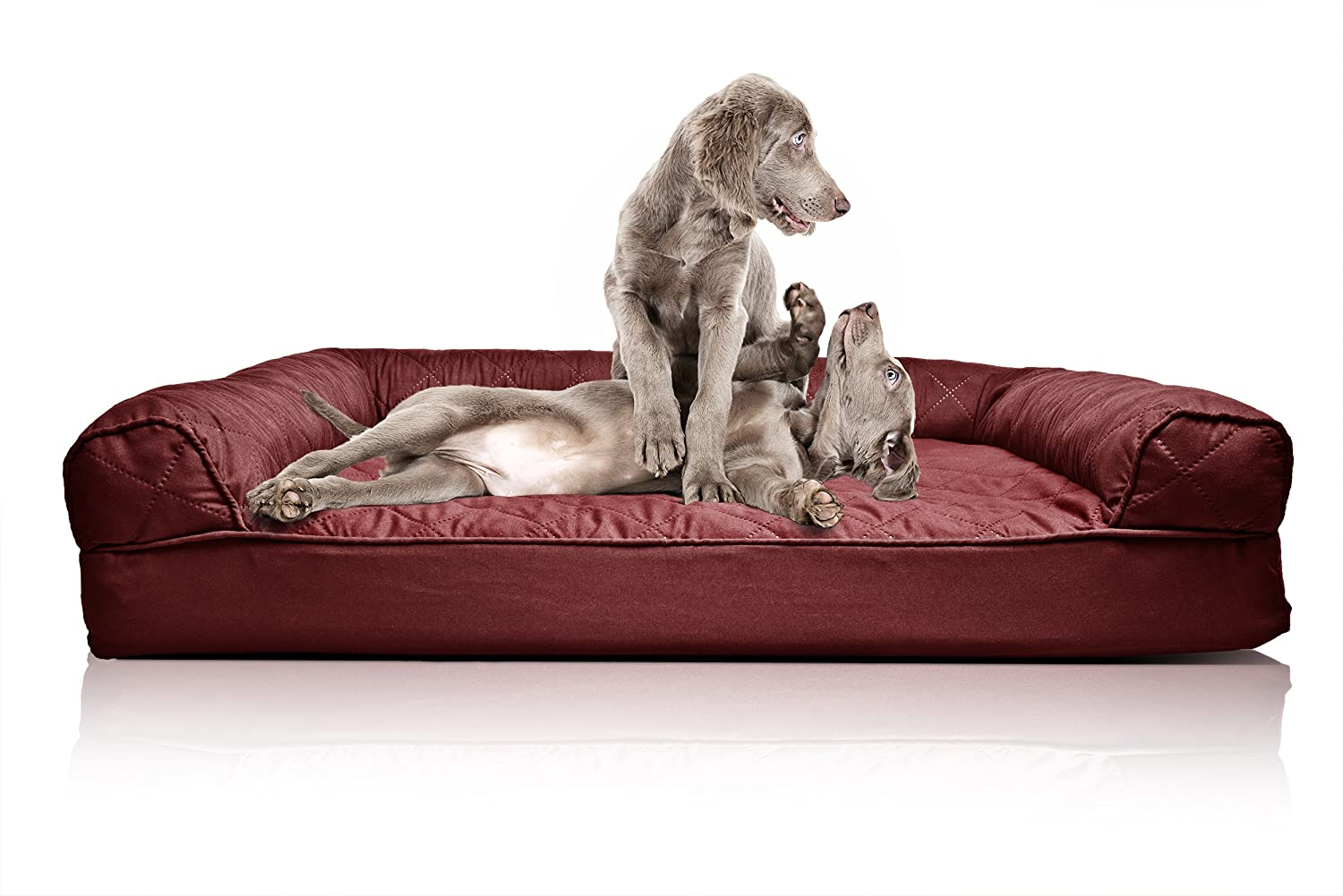 Amazon.com : FurHaven Jumbo Quilted Orthopedic Sofa Pet Bed For Dogs And  Cats, Wine Red : Pet Supplies