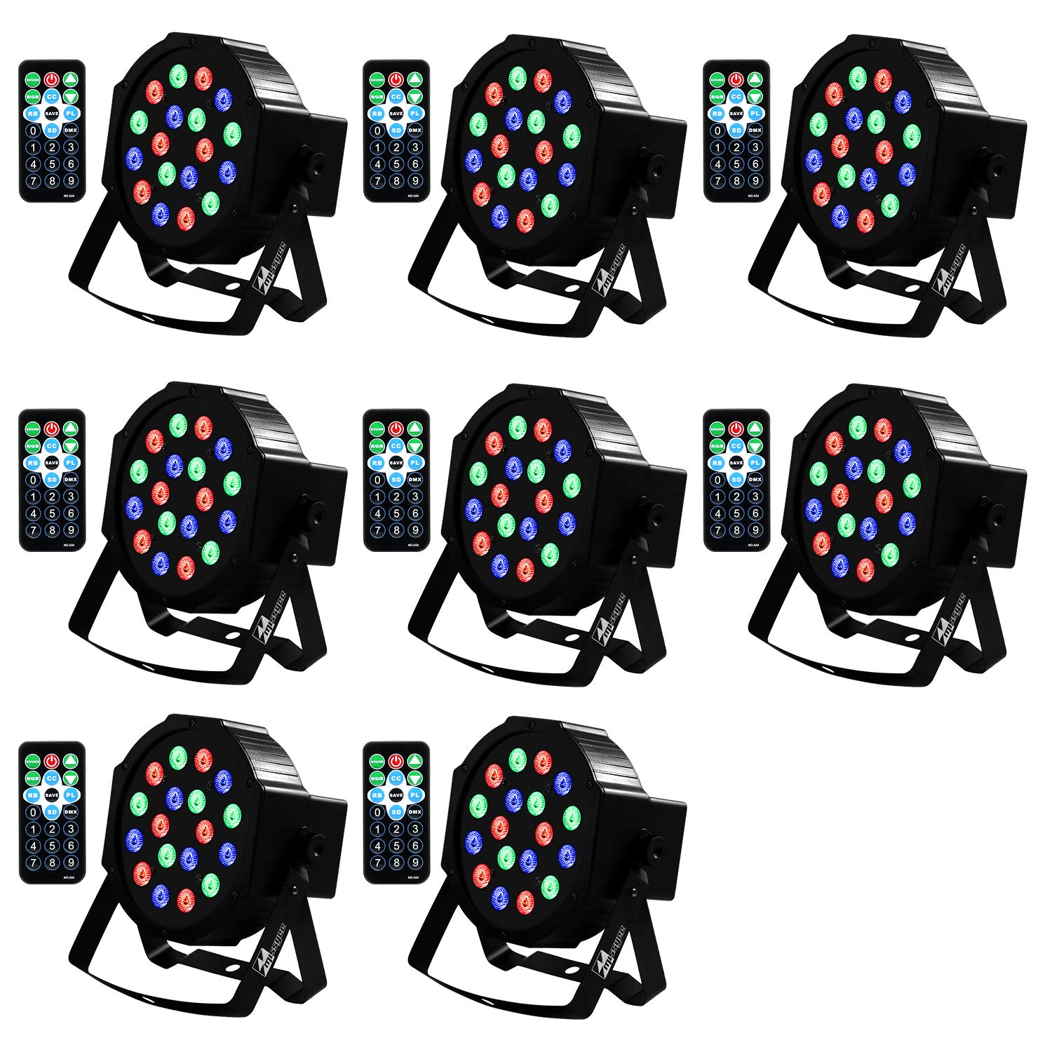 Uplights 18 RGB Led UpLights, Missyee Sound Activated DMX Uplighting, LED Par Can Lights with Remote Control, DJ Uplighting Package for Wedding Birthday Home Party (8 pcs) by Missyee