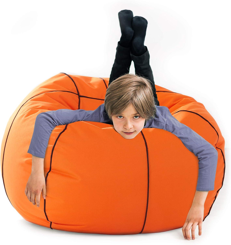 Lumaland Luxury Basketball Sitzsack hochwertiges Sitzkissen aus der Comfortline gro/ß
