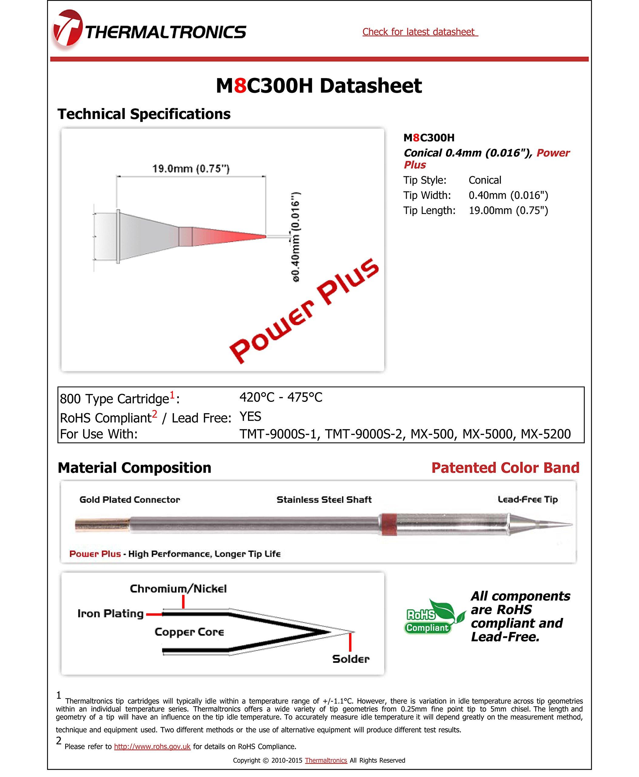 Thermaltronics M8C300H Conical 0.4mm (0.016''), Power Plus
