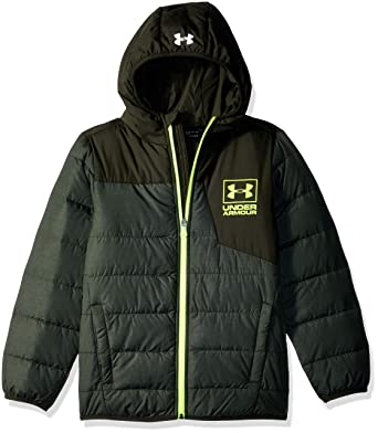 1e5db785449b Amazon.com  Under Armour Boys  Heather Swarmdown Hooded Jacket  Clothing