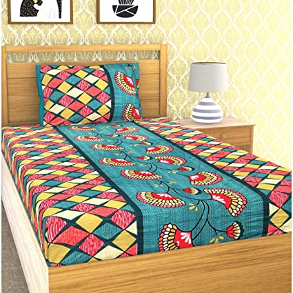 EMART Cotton, 120 TC, Single Bedsheet (220cm x 150cm) with One Pillow Cover (46cmx 68cm) Floral Checkered Print (Blue)