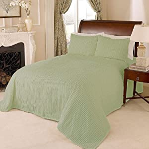 Beatrice Home Fashions Channel Chenille Bedspread, King, Sage