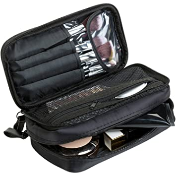f4986d8e51fa Amazon.com   MODARANI Mini Black Makeup Bag Makeup Case with Brush Holder 2  Layer Cosmetic Organizer Case for Travel   Beauty