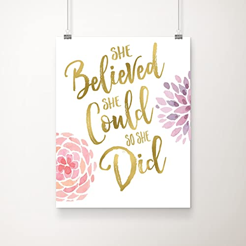 She Believed She Could So She Did | Inspirational Wall Art | 8x10 Inch Gold  Foil
