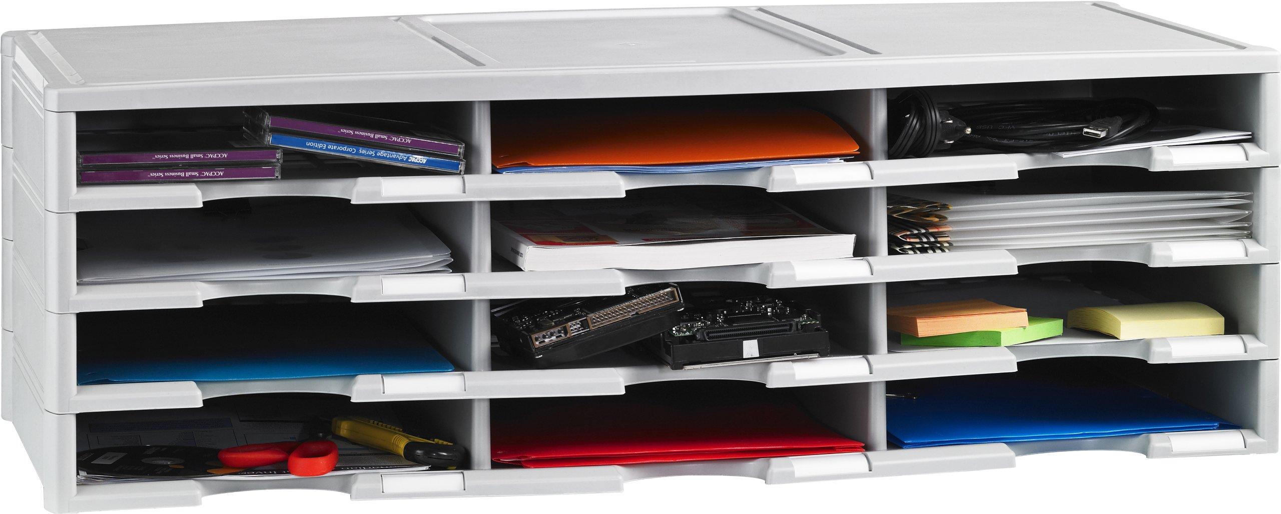 Storex 12-Compartment Literature Organizer/Document Sorter, 31.38 x 14.13 x 10.5 Inches, Gray (61431U01C)