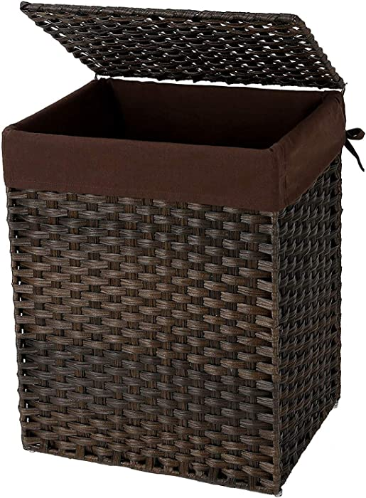 SONGMICS Handwoven Laundry Basket, Synthetic Rattan Clothes Hamper with Lid and Handles, Foldable, Removable Liner Bag, Brown ULCB51BR