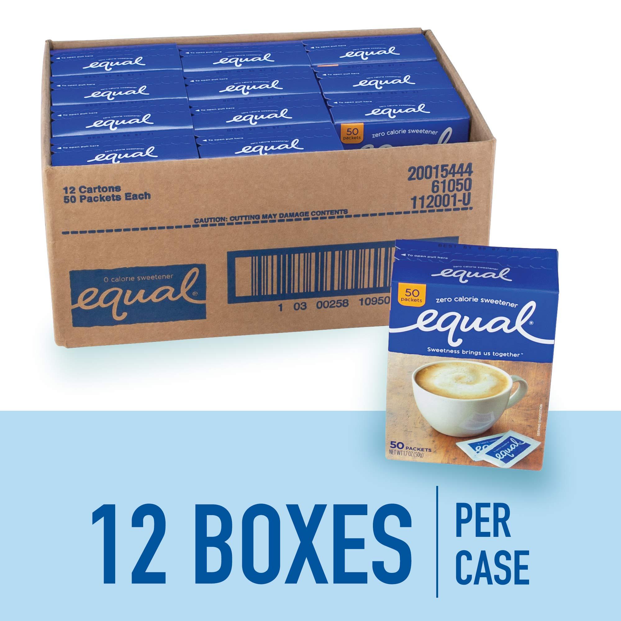 EQUAL 0 Calorie Sweetener, Sugar Substitute, Zero Calorie Sugar Alternative Sweetener Packets, Sugar Alternative, 50 Count (Pack of 12) by Equal (Image #2)