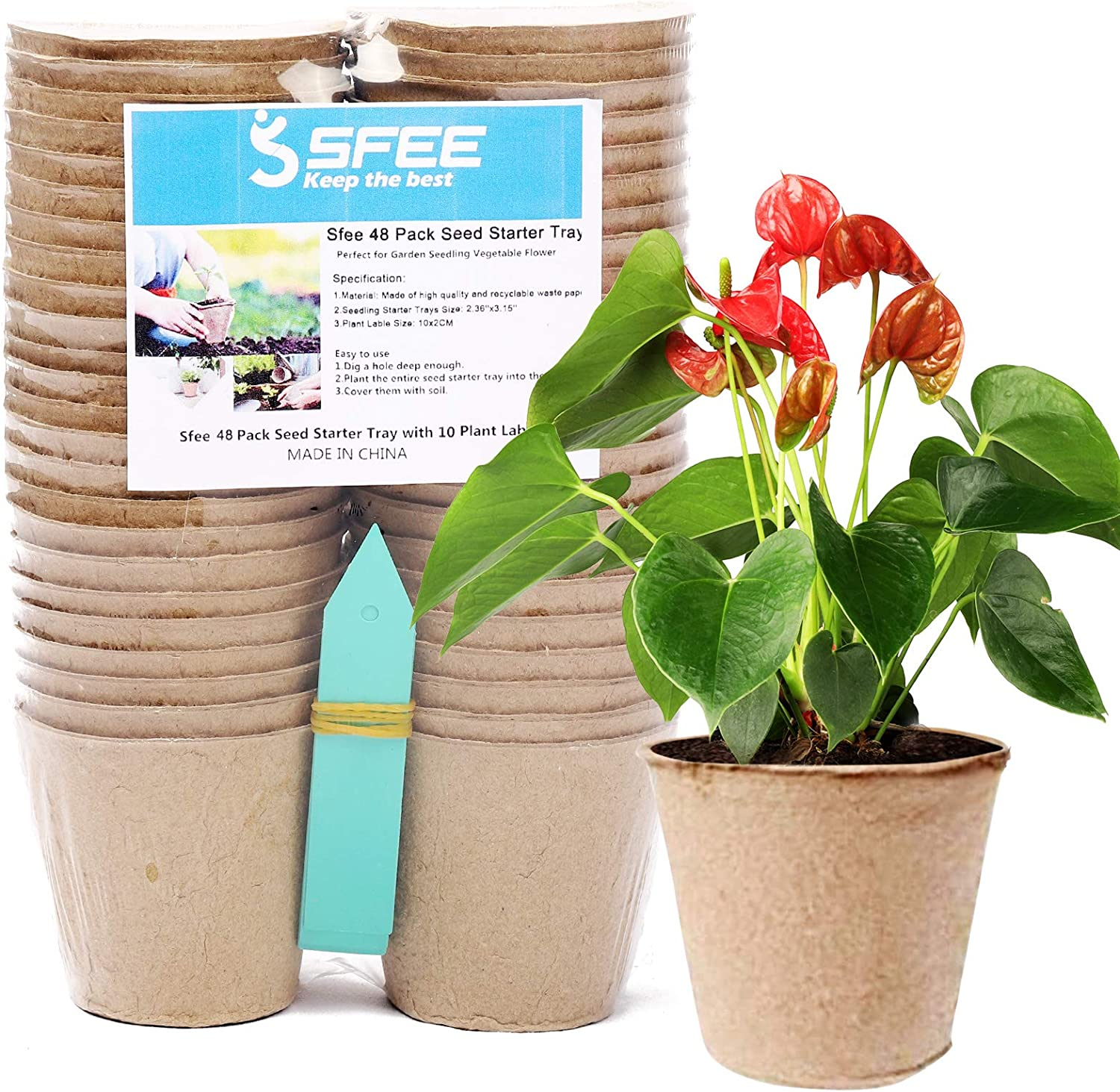 Sfee 48 Pack Seed Starter Tray Peat Pots Kits, 3.15'' Biodegradable Compostable Planting Pots Germination Sow and Grow Seed Trays for Garden with Water Label (48 Pack)