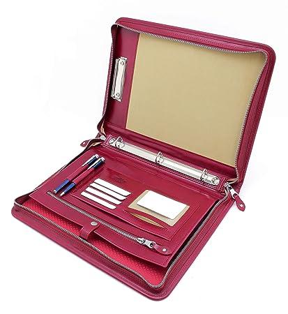 172289c52e17 Noda Executive Leather Padfolio 3 Ring Binder Professional Business  Portfolio w/Zippered Closure | Resume, Document, Notepad, Tablet,  Clipboard, ...