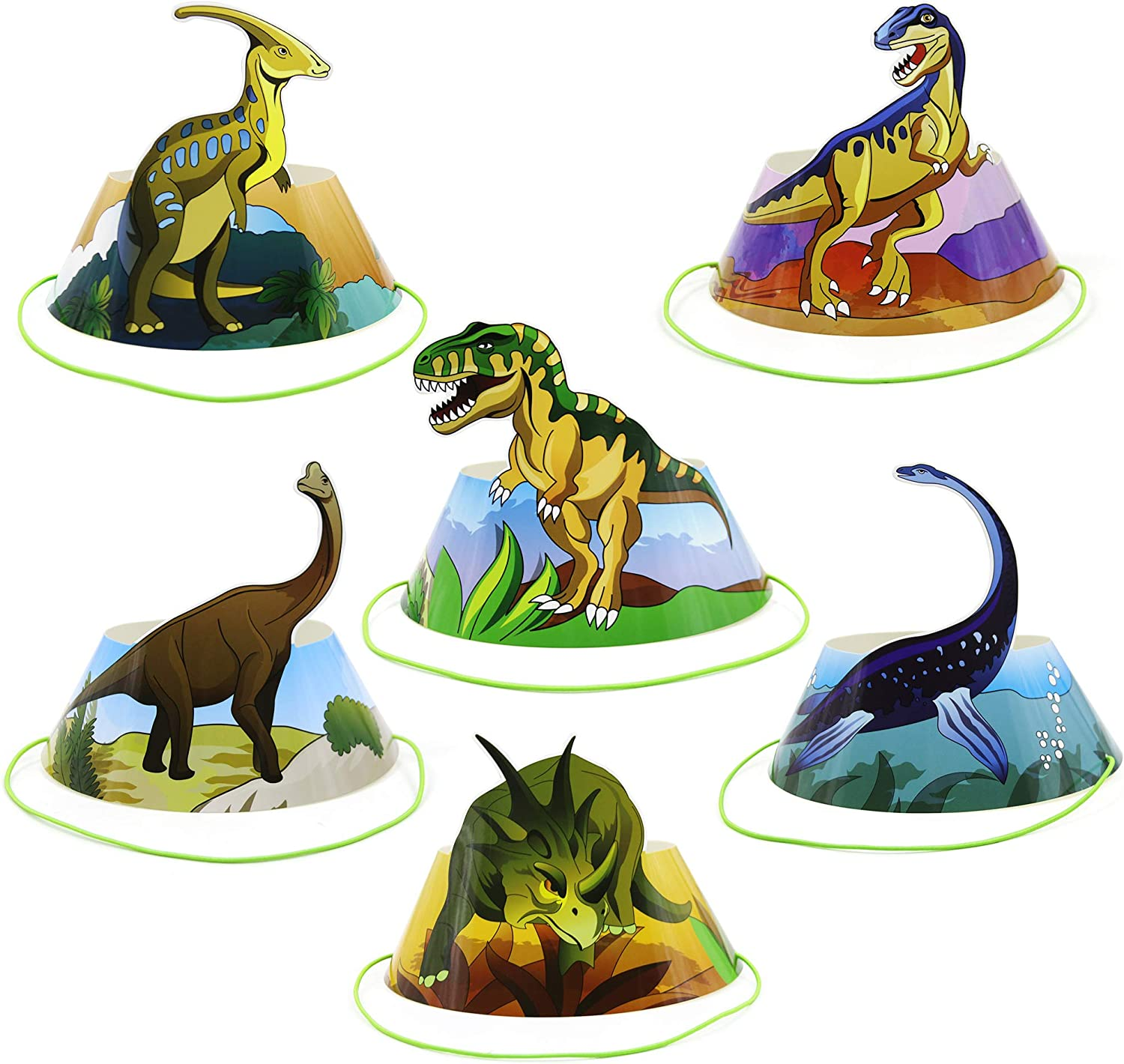 BeeGreen Dinosaur Party Hats Birthday Paper Hats Party Supplies Favors Hat 24 Pack Dino Party Accessories with Elastic Cords for Kids Girls Boys