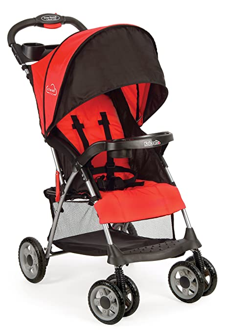 Kolcraft Cloud Plus Lightweight Stroller with 5-Point Safety System and Multi-Positon Reclining Seat, Extended Canopy, Easy One Hand Fold, Large Storage Basket, Parent and Child Tray, Fire Red