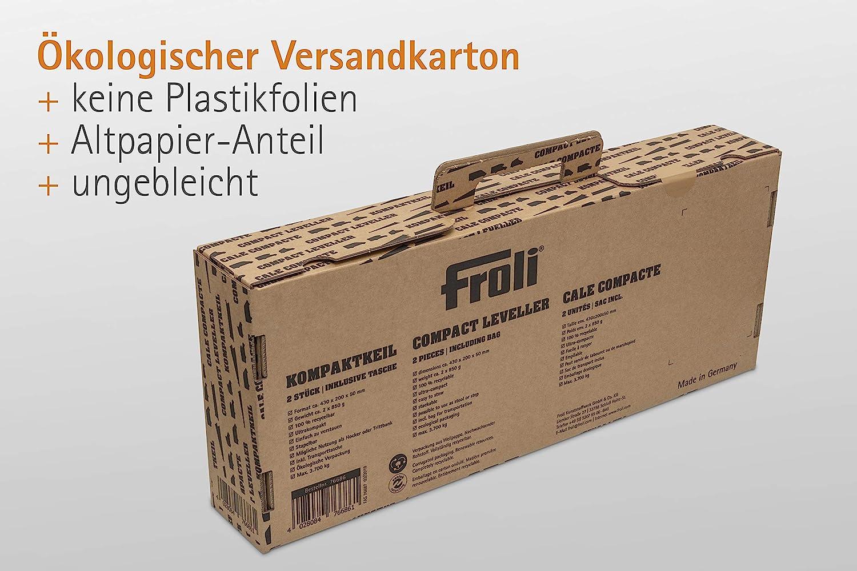 1x Keil-Tasche 2x Kompaktkeil Wohnwagen Ausgleichskeile Set Reisemobil und Camper Green-Edition, 95/% Biokunststoff Froli Auffahrkeil f/ür Wohnmobil bis 3700 kg stapelbar