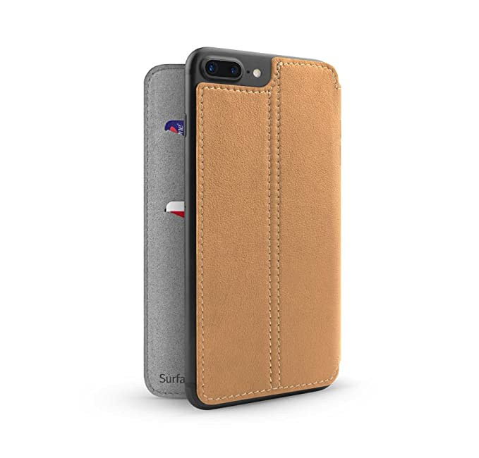 promo code 3ab37 3a783 Twelve South SurfacePad for iPhone 8 Plus / 7 Plus / 6 Plus | Slim Luxury  Leather Cover + Display Stand (Camel)