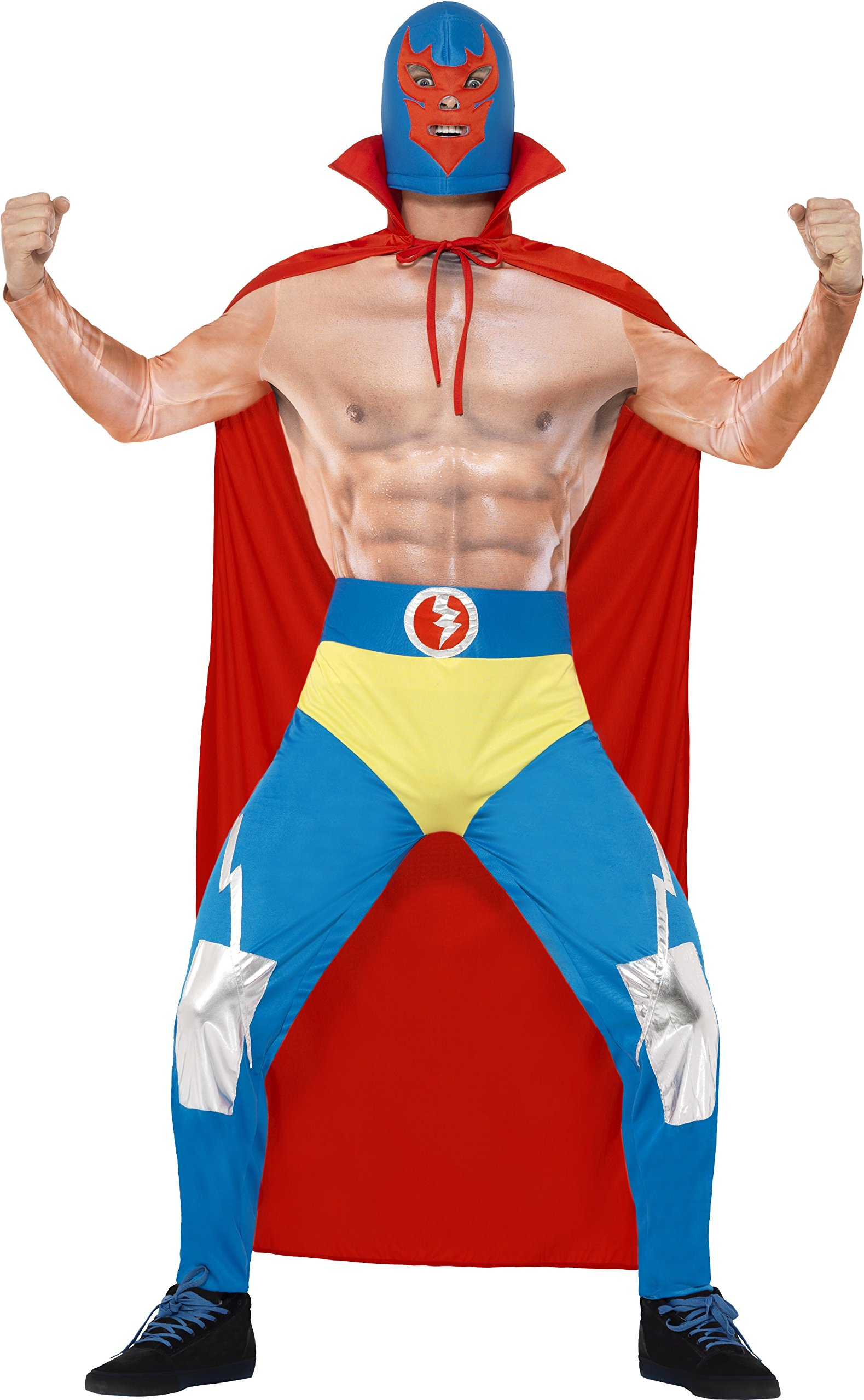 Smiffy's Men's Mexican Wrestler Costume, Cape, Leggings, Attached pants and Mask, Around The World, Serious Fun, Size L, 43667
