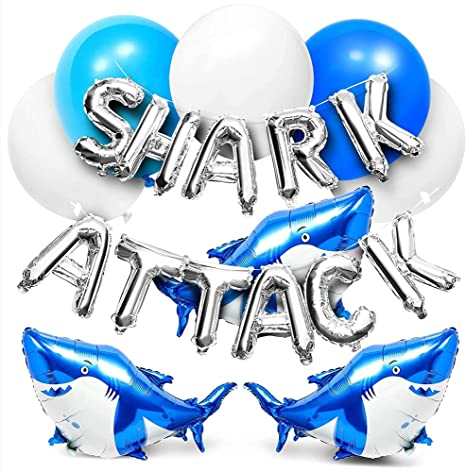 Shark Party Balloons, Foil Balloon Letters (50 Pack)