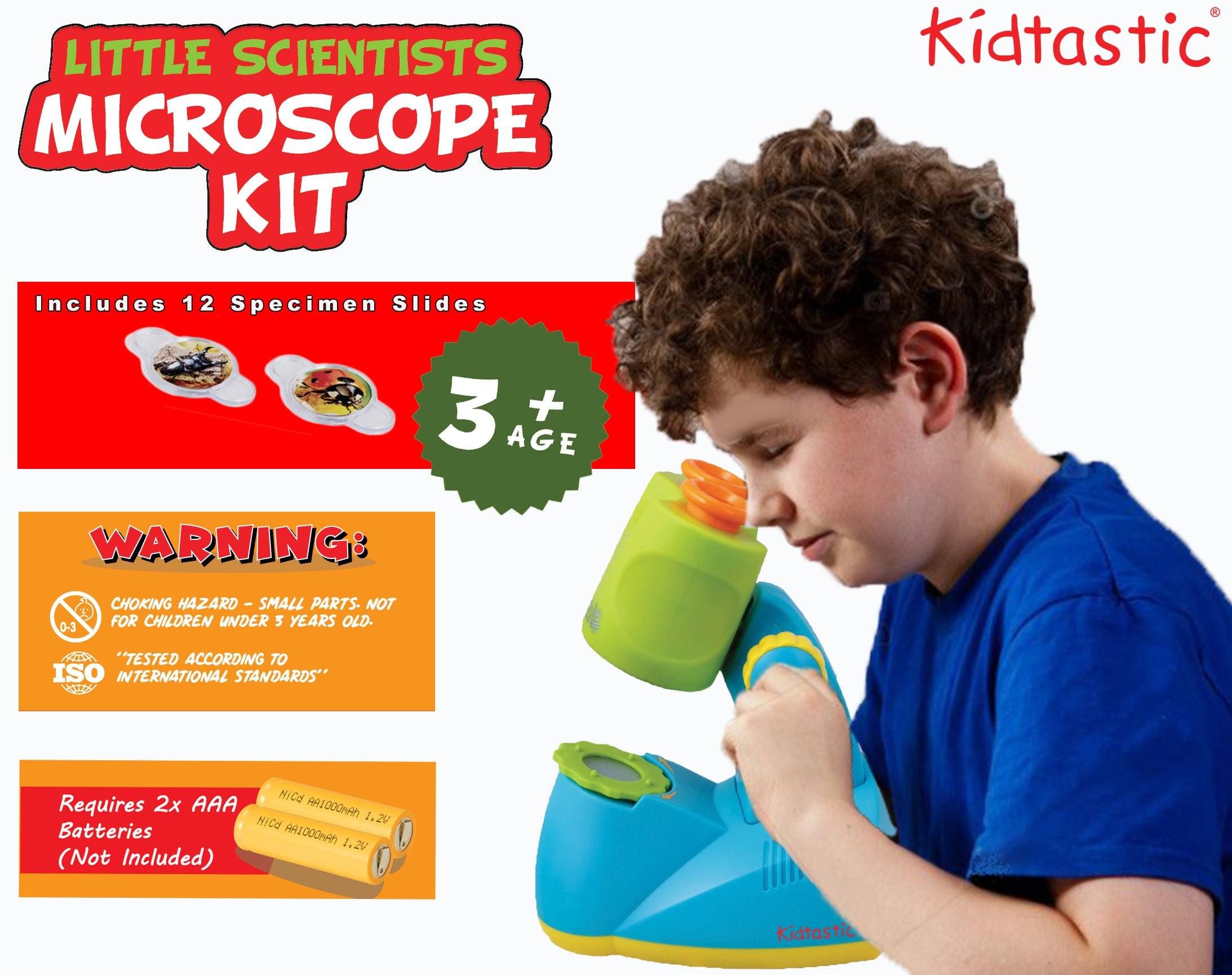 Kidtastic Microscope Science Kit for Kids - Fun Learning Toys for Preschoolers - STEM Toy for 3 Year olds - with 12 Slides Animals & Nature, 8X Zoom, LED Light - for Ages 3, 4, 5, 6 and up by Kidtastic (Image #4)