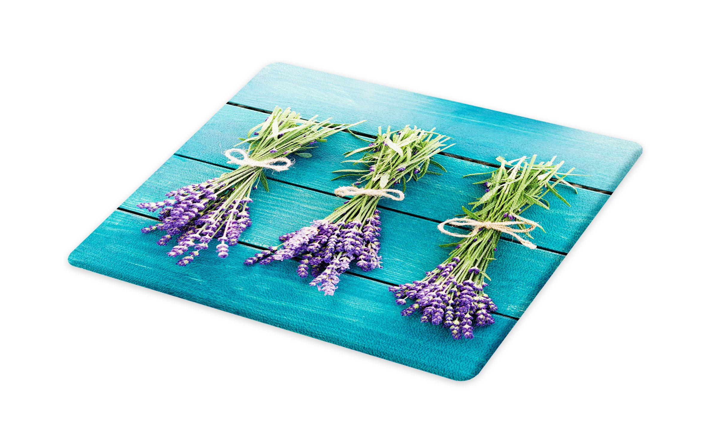 Lunarable Lavender Cutting Board, Fresh Lavender Bouquets on Blue Wooden Planks Rustic Relaxing Spa, Decorative Tempered Glass Cutting and Serving Board, Small Size, Sky Blue Lavender Green