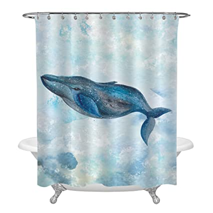 MitoVilla Big Blue Whale Swimming In Ocean Shower Curtain Navy For Bathroom