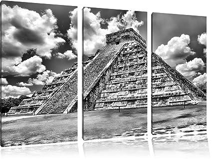 Monocrome piramide maya del messico immagine 3 pc foto su tela