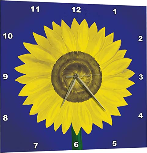 3dRose Sunflower. Giant Sunflower Digital Oil Painting in deep Blue and Yellow. – Wall Clock, 13 by 13-Inch DPP_123812_2