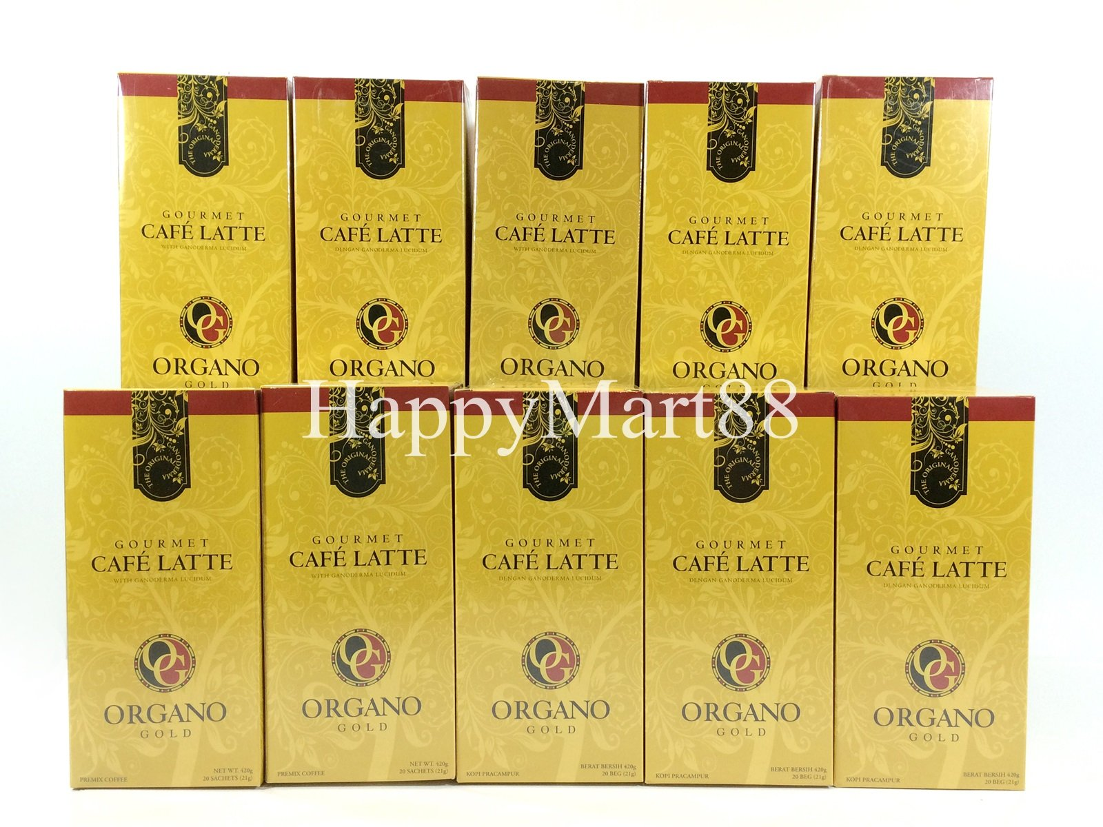 10 Boxes Organo Gold Gourmet Cafe Latte Ganoderma Lucidum + FREE 10 Sachets Gano Excel 3 in 1