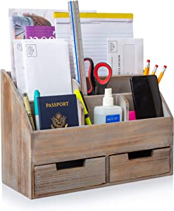 """Besti Vintage Office Organizer - Organizing Tool for Desktop, Bathroom, Kitchen, Vanity Countertop - Vintage Style, Rustic Chic Table Caddy - Wood Storage with 6 Compartments, 2 Drawers - 14.4x10x6"""""""