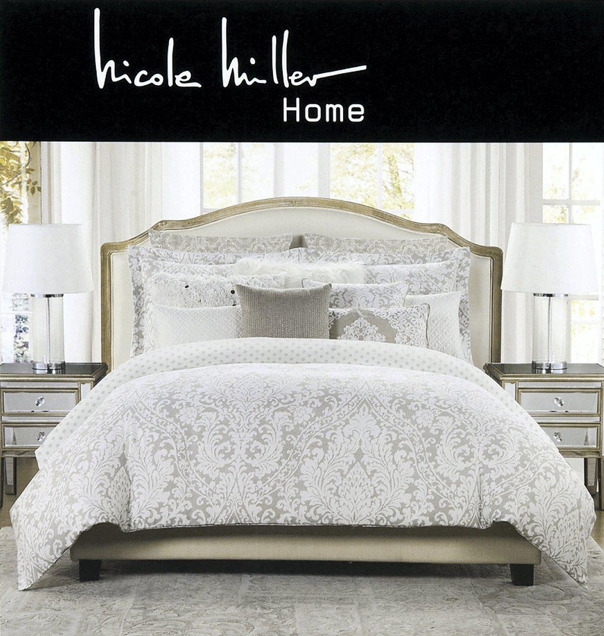 tan duvet cover. Nicole Miller 3 Pc King Duvet Cover Set Beige Tan Watercolors Medallion Floral Luxurious Bedding Cotton I