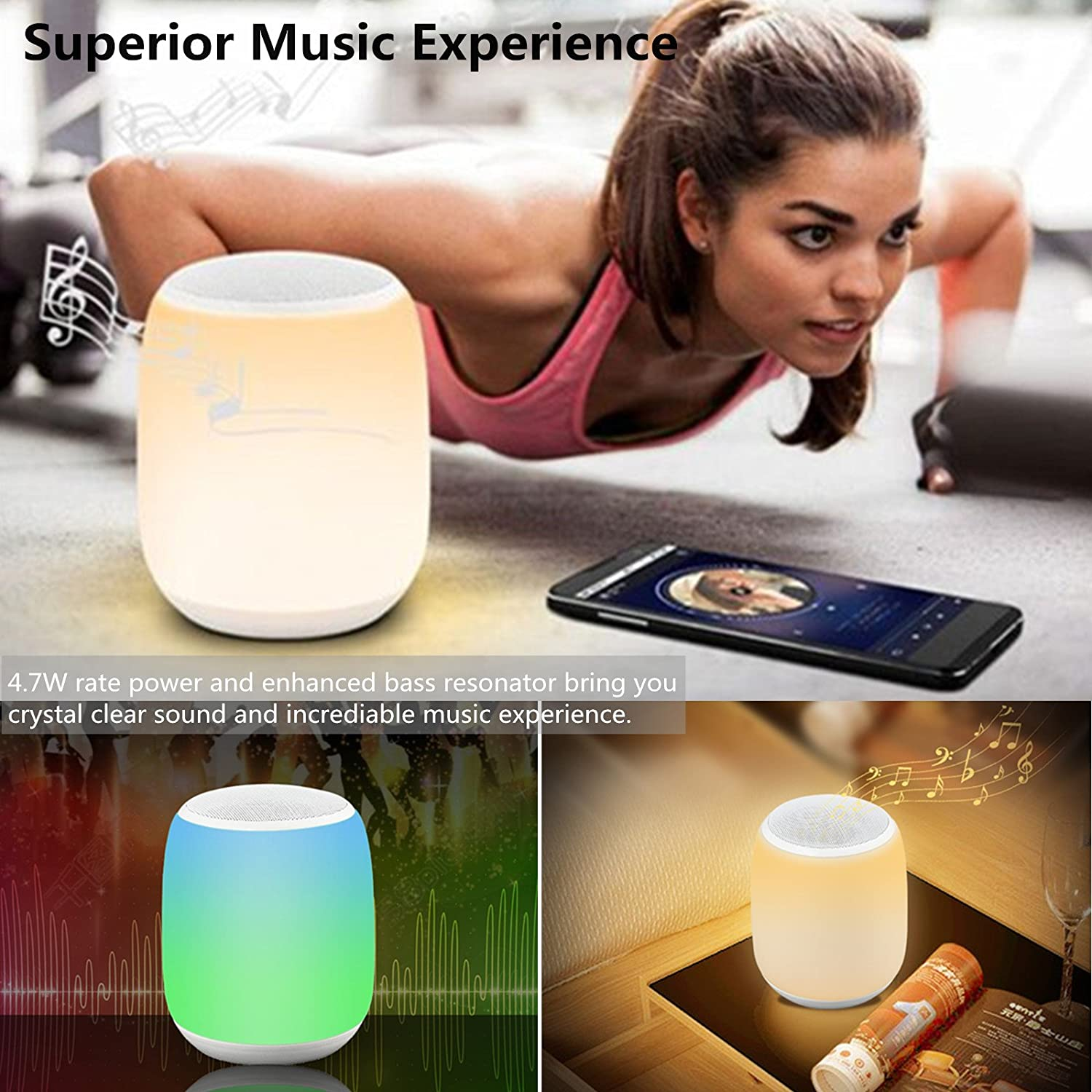 LED Bluetooth Speaker ieGeek Portable Wireless Speaker Night Light w// 6000mAh Power Bank Color Changing Bedside Lamp Table Lamp Smart Touch Mood Lamp MP3 Player Waterproof for Party//Bedroom//Outdoor