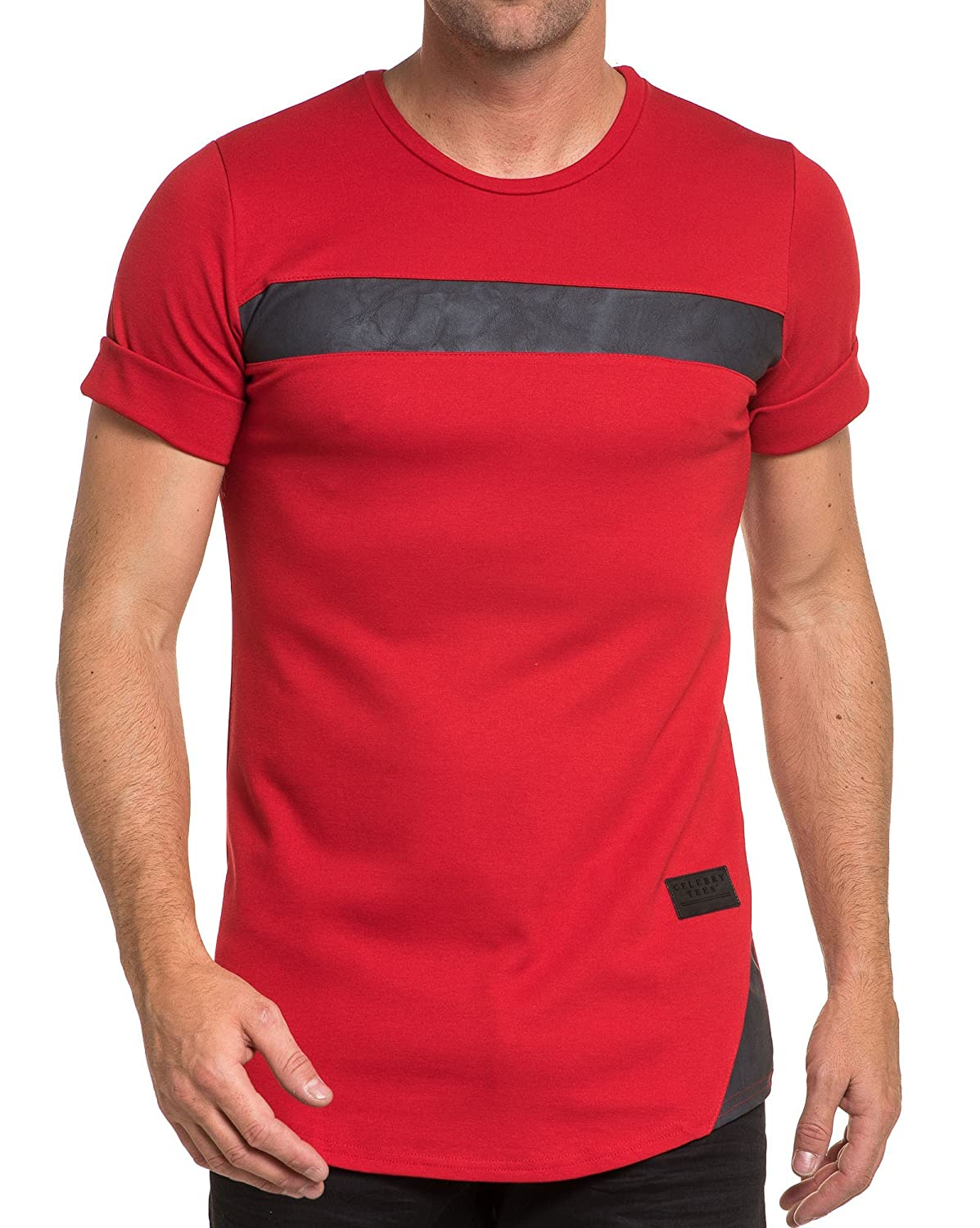 Celebry tees - T-shirt red man and black leather band effect