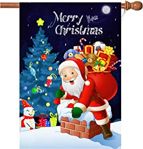 W&X Christmas Flag, 28 x 40 Inch Double-Sided Printing 2 Layer Winter Christmas Holiday Santa Christmas Deer House Flag