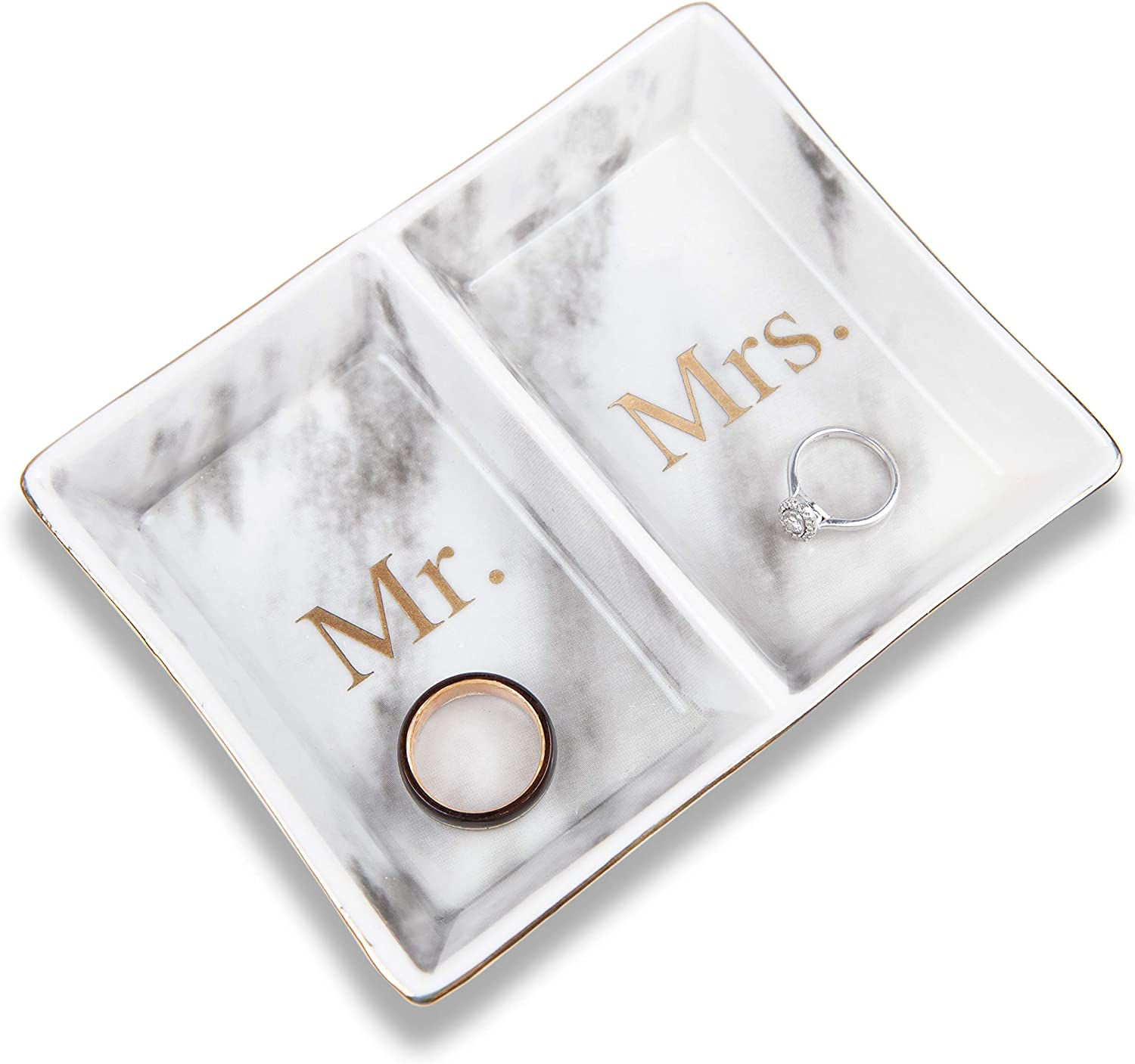 Aller Home & Kitchen Mr. & Mrs. Ring Dish Jewelry Plate (Marble Design) - His and Hers Two Section Trinket Tray for Wedding and Engagement Rings, Earrings, Bracelets, Necklaces, Watches, Couples Gifts