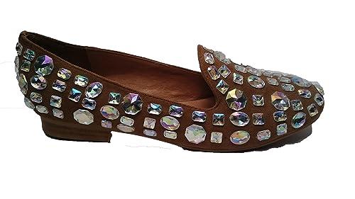 Jeffrey Cambell - Mocasines de Ante para Mujer Beige Nude/Swaroski: Amazon.es: Zapatos y complementos