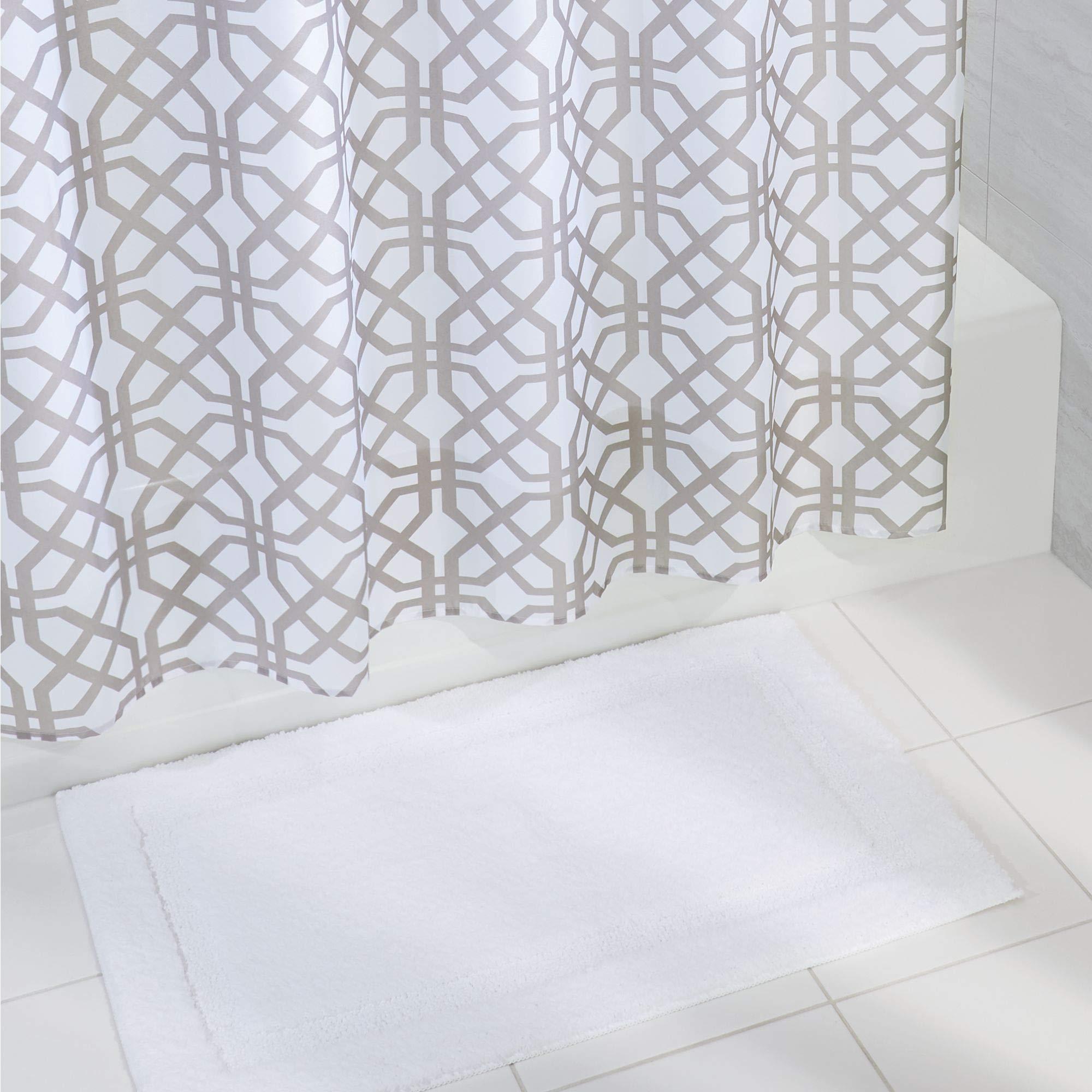 mDesign Bathroom Accessory Set, Fretwork Fabric Shower Curtain, Spa Bath Mat/Rug - Set of 2, Stone Gray/White