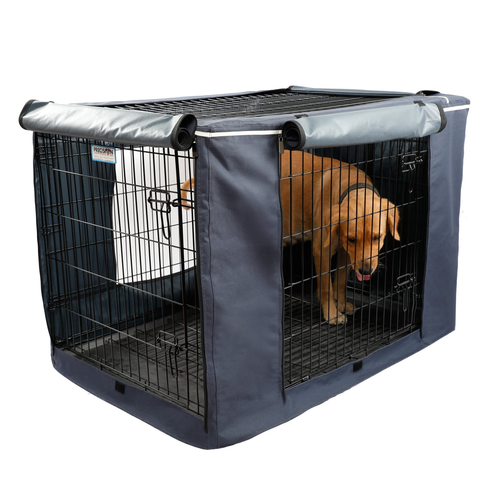 """Petsfit Oxford Cloth Pet Kennel Cover for Wire Dog Crates 42""""L x 28""""W x 30""""H, With Three-Side and Top Windows, Back Zipper, Dark Blue by Petsfit (Image #3)"""