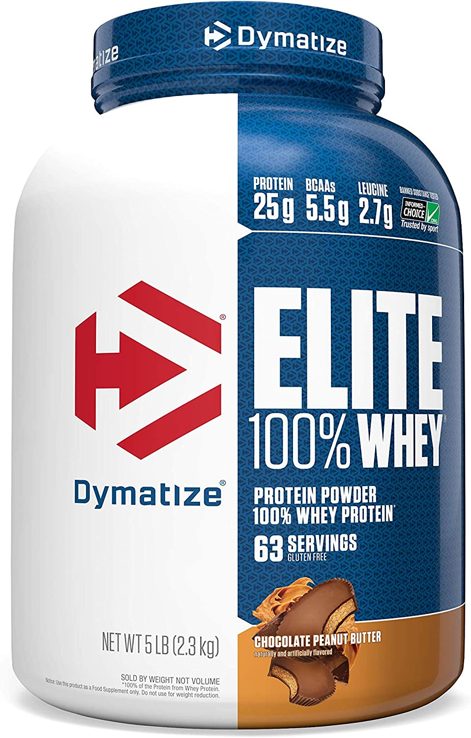 Dymatize Elite 100 Whey Protein Powder, Take Pre Workout or Post Workout, Quick Absorbing Fast Digesting, Chocolate Peanut Butter, 5 Pound