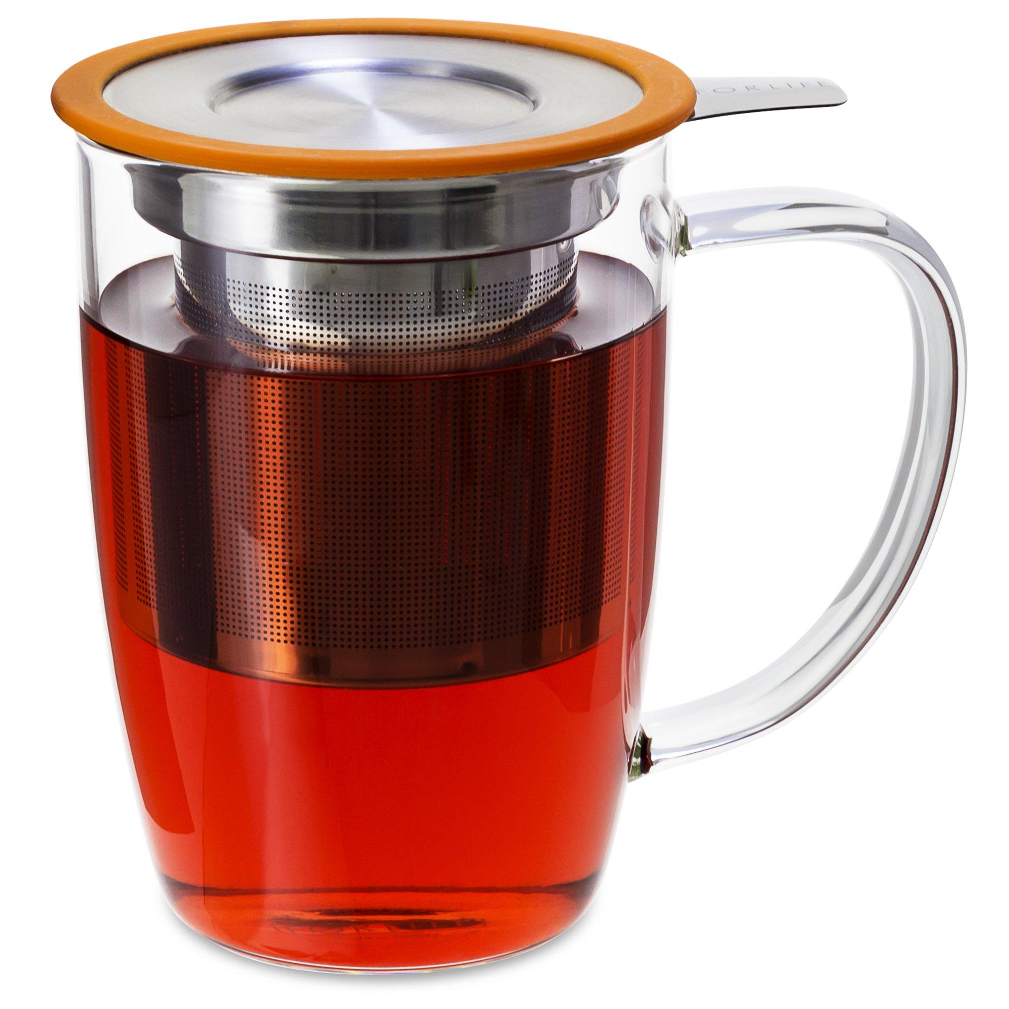 FORLIFE NewLeaf Glass Tea Mug with Infuser and Lid, 16 oz, Orange