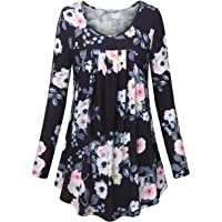 Furnex Women's Long Sleeve Round Neck Casual Floral Printed Flowy Tunic Tops